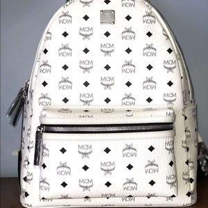 White mcm backpack